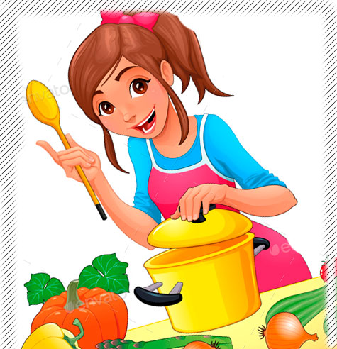 мультяшная девушка готовит