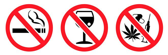 запрещено пить алкоголь, курить, употреблять наркотики