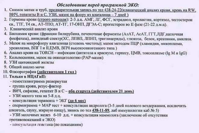 список обследований и анализов перед началом эко