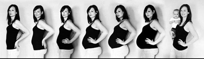 ежемесячные фотографии девушки на протяжении всей беременности до родов