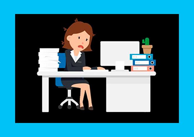 у нарисованной девушки стресс на работе