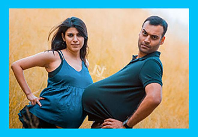 беременная женщина и муж с большим животом