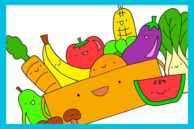мультяшные овощи и фрукты в корзине